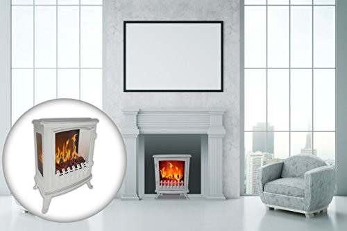 Chemin' Arte 1403d Fire Glass Caminetto Elettrico, 2000W, bianco, 45x 29x 55cm