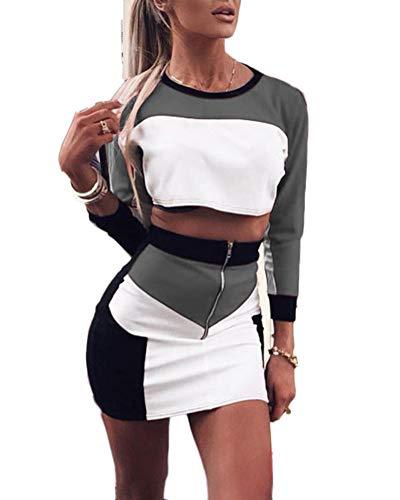 Damen Sportswear Set Trainingsanzug Langarm Crop Top T-Shirt + Rock Fitness Anzüge Zweiteiler Freizeitanzug Grau S - Langarm T-shirt Rock