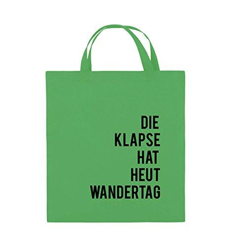 Comedy Bags - DIE KLAPSE HAT HEUT WANDERTAG - Jutebeutel - kurze Henkel - 38x42cm - Farbe: Schwarz / Weiss Grün / Schwarz