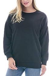 Smallshow Schafwolle Pflege Sweatshirt Langarm T-Shirt Bluse Stillen Pullover Tops Stillshirt Black L