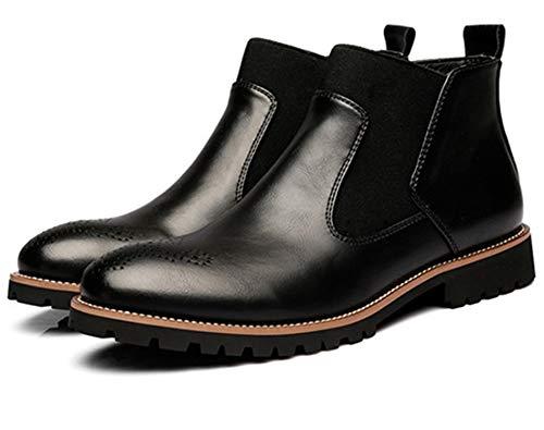 Stivali chelsea uomo pelle eleganti flat moda bassi stivaletti vintage business scarpe foderata invernali boots nero marrone rosso 38-46 nero 42