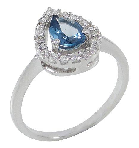 Banithani 925 Sterling Silber Charm London Blue Topas Stein Ring Frauen Modeschmuck