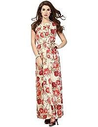 Ishin Georgette Beige & Red Printed Party Wear Wedding Wear Casual Daily Wear Festive Wear Bollwood New Collection Latest Design Trendy Women's Western Wear Maxi Dress