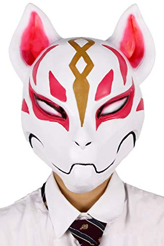 ival Party Cosplay Fox White Mask Carnival Mask Halloween Accessories Fox Mask, natürlicher umweltfreundlicher Latex Halloween Cosplay Helm für Erwachsene ()