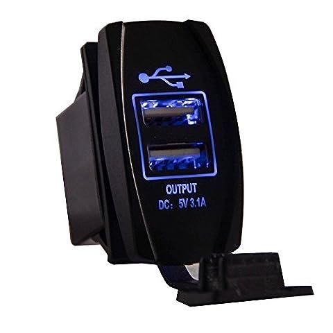 Motorrad USB Ladegerät, RAXFLY Universal Auto Motorrad Rocker Style Doppel USB Anschlüsse Ladegerät 12- 24V Mit blauem LED Licht Anzeige