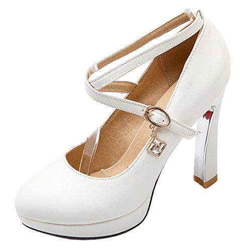 AIYOUMEI Plateau Mary Jane Pumps mit Knöchelriemchen und 10cm Absatz High Heel Elegant Damen Weiß