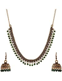 Ganapathy Gems Green Metal Strand Necklace Set For Women (GPJC29)