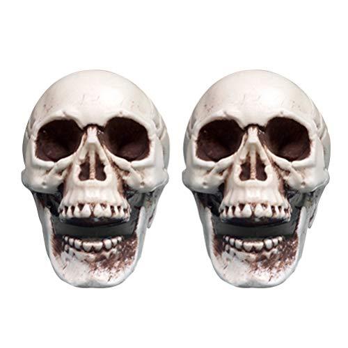STOBOK 2 stücke Halloween Scary Simulation Schädel Dekor Mini Kunststoff Schädel Skeleton Requisiten für Bar Haunted House Roombreak ()