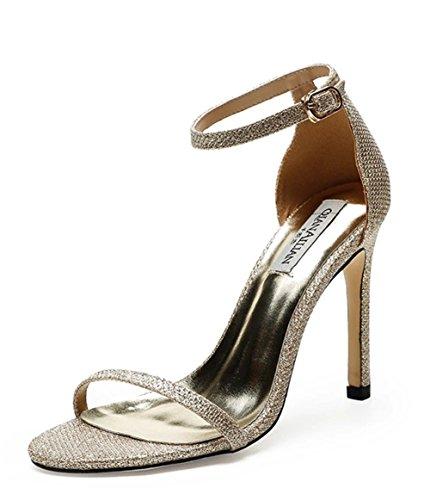 GHFDSJHSD Damen High Heel Sandaletten Peep Toe Ankle Riemchen Damen Party Hochzeit Prom Sandalen Schuhe Größe 3-8 für den Sommer, golden - High Heel 4