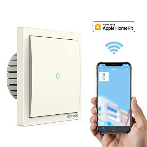 Koogeek Wifi Smart Lichtschalter 220 ~ 240V funktioniert mit Apple HomeKit Unterstützung Siri Fernbedienung (One-Way-Light Schalte)【Note:A neutral wire is required.】 (Wire 3-way Light Switch)