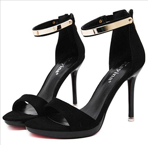 Sandali Fascia Cinturino Stiletto 10 cm Tacchi Sweet Hollow Hollow Ladies Scarpe aperte piede UE taglia 35-40 Black