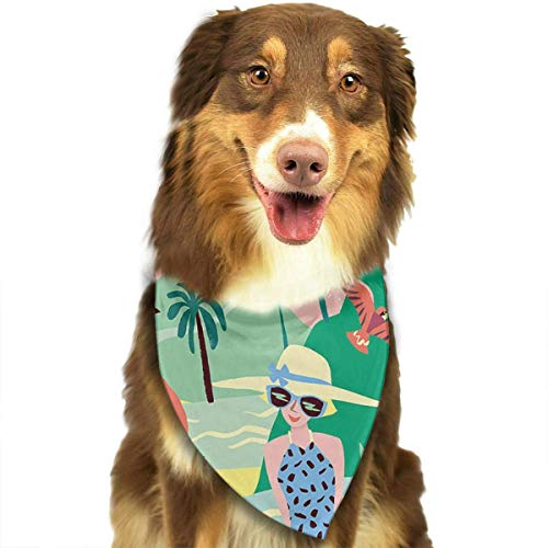 nxnx Tropical Taking Pictures Birds Flamingo Dog Bandana - Small Medium and Large Bandanas for Every Occasion Or Holiday - Easy to Tie On Your Cats Or Dogs Or Puppy
