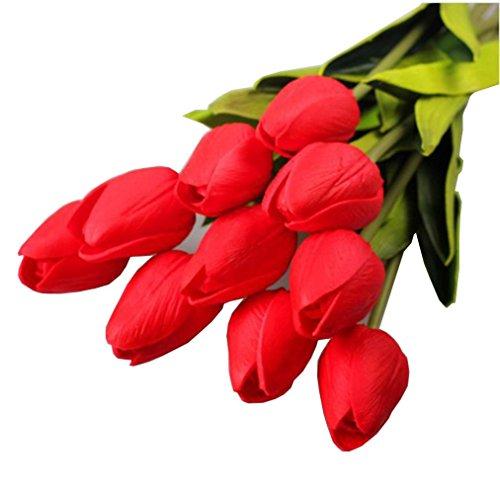 Mitlfuny Unechte Blumen,Tulpen Kunstblume Latex Real Touch Bridal Wedding Bouquet Home Decor, 10st Pfingstrose Floral künstliche Seide Künstliche Flanell Blume Brautstrauß Hochzeitsfeier Home Decor (Rot) (Real Touch Blumen Brautstrauß)