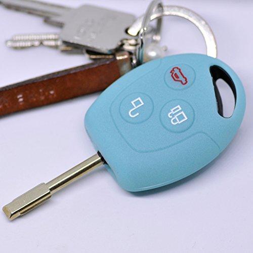 Soft Case Schutz Hülle Auto Schlüssel Ford Transit Mondeo Focus II Fiesta VI Fusion Galaxy S-MAX Remote/Farbe: Fluoreszierend Blau (leuchtet im Dunkeln!)
