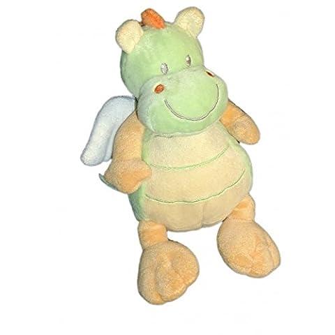 Doudou Peluche DRAGON Vert orange jaune - Nicotoy - H 18 cm 579/8848