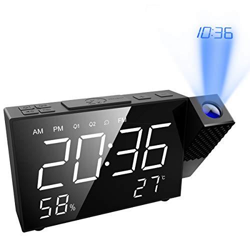 ORIA 【2019 New】 Despertador Proyector, Reloj de Alarma de Radio FM Digital con Alarma Dual, Función de Temporizador y Snooze | 180° 6.5inch LED Pantalla Grande con Temperatura Humedad| Carga USB