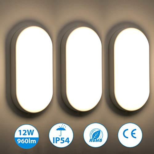 3er Oeegoo 12W LED Deckenleuchte Bad, IP54 Wasserfest Feuchtraumleuchte 960lm led Badezimmerlampe, Flimmerfreie Deckenlampe Wandleuchte für Kinderzimmer, Keller, Diele, Flur, Balkon, Werkstatt,4000K