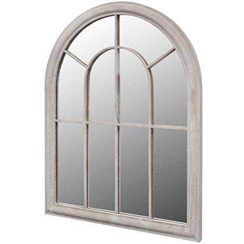 Nishore Espejo Rústico con Arco para Jardín 69 x 3 x 89 cm Blanco Anticuado