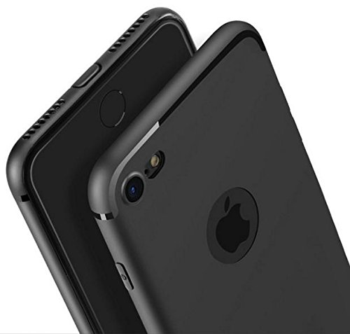 iPhone 7 Cover - Amozo® Soft Silicone with Anti Dust Plugs Shockproof Slim Back Cover Case For Apple iPhone 7 - Black  available at amazon for Rs.175