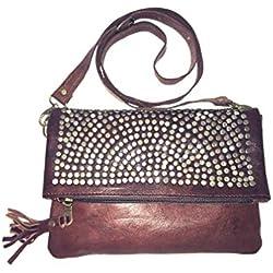 Bolso de mujer de piel, vintage artesanal de cuero con remache (marron)