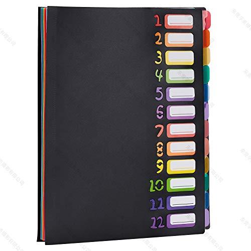 Tragbarer Regenbogen-Ordner mit 13 Fächern, bunte Tabs für A4-Papier und Briefgröße, Aktenmanager, erweiterbarer Halter für Home Office BlackA4 - Tabs Ac