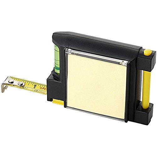 Maßband 3Meter aus Kunststoff mit Wasserwaage und Notizbuch mit Stift und Clip für Gürtel