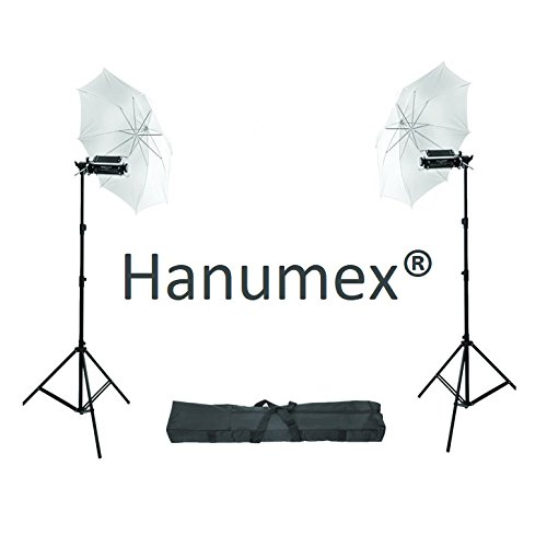 Hanumex Porta Umbrella Video Light (Pair) for Still/Video Photography Portable Studio kit, Heavy Duty 9 Feet Height Light Stand