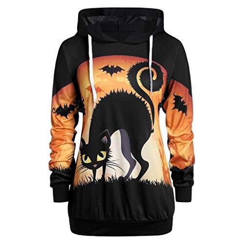 SUNNSEAN Sweat-Shirt Femme Grande Taille Pull Halloween Mignon à Manches Longues Citrouille Chauve-Souris/Chat Imprimé Hauts à Capuche Sweatshirt