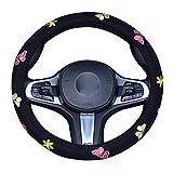 XuanMax 38cm Ricamo Coprivolante Auto per Donne Universale Traspirante Antiscivolo Copertura di Volante 15 Inch - Farfalla