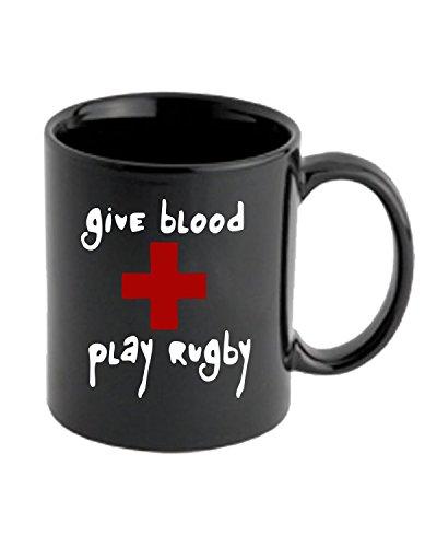 T-Shirtshock - Tazza 11oz TRUG0106 give blood play rugby black logo, Taglia 11oz