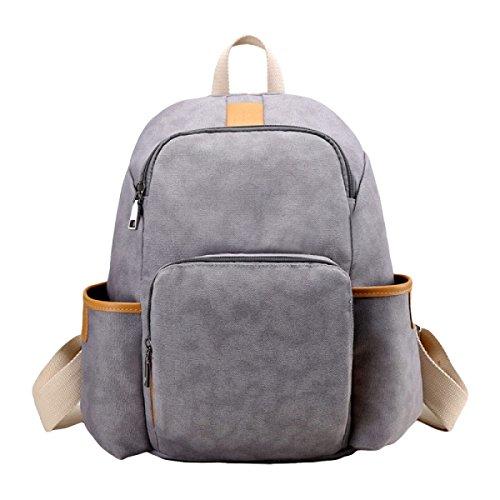 Damen Leinwand Umhängetasche Handtasche Einfach Wilden Freizeit Reise Rucksack Grey