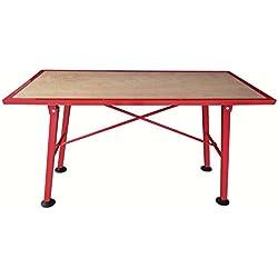 TEC HIT 500780 - Etabli de chantier pliant plate au bois charge - 200Kg - Rouge
