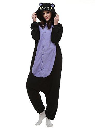 Tier Onesie Mitternachtskatze Pyjama Kostüme Kigurumi Schlafanzug Erwachsene Unisex Mann Dame Cosplay Jumpsuit (Zebra 2 Kostüm Mann)