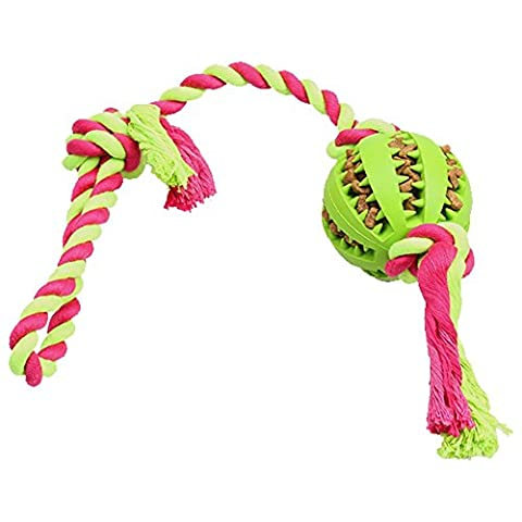 Magic Zone IQ Treat Ball with Rope Toy for Dogs & Cats, Indestructible Dental Treat Bite Resistant Durable Soft Rubber for Pet IQ Training/Playing/Chewing