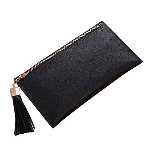 ESAILQ Femmes Long Wallet Zipper Tassel Pendentif Porte-Monnaie Carte sac à main Porte-