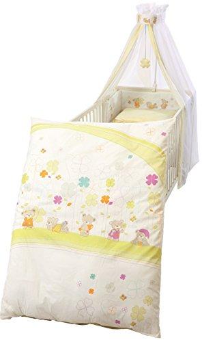 roba Kinder-Bettgarnitur 4-tlg, Babybett-Ausstattung \'Glücksbringer\', Bettset mit Applikation, Bettwäsche 100x135 (Decke & Kissen), Nestchen, Himmel