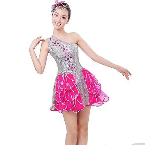 Wgwioo Fashion Dress Modern Tanz Kleidung Puff Rock Single Schulter Square Kostüm National Performance Klassik, Picture Color, ()