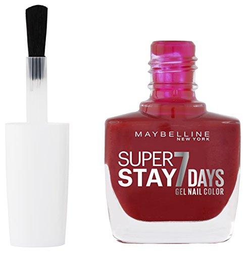 Maybelline New York Make-Up Super Stay Nailpolish Forever Strong 7 Days Finish Gel Nagellack Cherry Sin / Farblack mit ultra starkem Halt ohne UV Lampe in knalligem Rot, 1 x 10 ml - 2