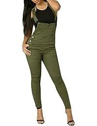 5070 Fashion4Young Damen Jeans Latzhose R/öhrenjeans Latzjeans Slimline Damenlatzhose