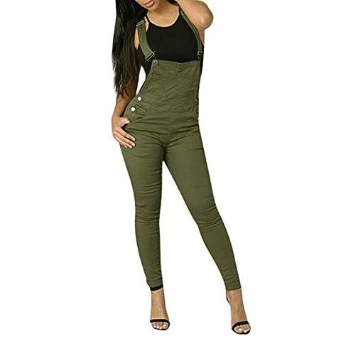 Chouette Salopette Pantalons Femmes Sexy Slim Poche à Bretelles à Taille Haute Casaul Plaine Combinaison (FR38-40,