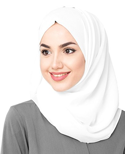 InEssence© New White Poly Georgette Ladies Summer Scarf Regular Size Hijab Wrap
