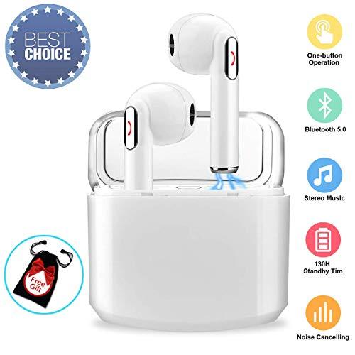Écouteurs Bluetooth,Oreillettes Sans Fil Sport Ecouteur Casque Bluetooth avec Microphone Anti-Bruit Wireless Earbuds Mini Stéréo Auriculaires Intra-auriculaire pour Android Samsung Smartphones Blanc