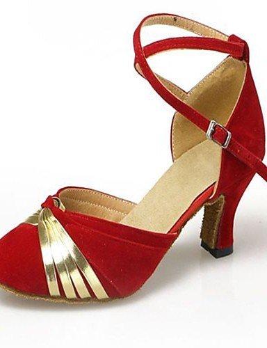 ShangYi Chaussures de danse (Noir/Bleu/Rouge) - Non personnalisable - Talon Large - Satin/Similicuir/Paillette - Moderne Red
