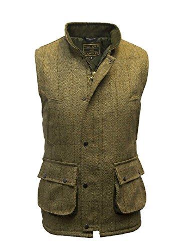 Walker and Hawkes Herren Country-Weste aus Tweed - für die Jagd geeignet - Helles Salbeigrün - Größen 2XS bis 4XL - Tweed Duffle