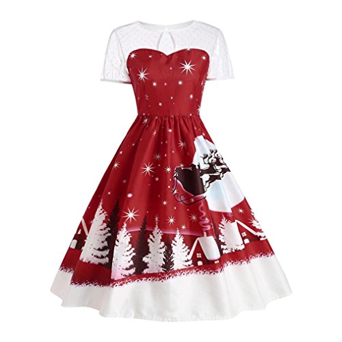 Frauen Kleid,DOLDOA Vintage Weihnachten Xmas Knielang Rundhals Kurzarm A-Linie Swing Kleid (EU: 44 Büste: 98cm / 38.6