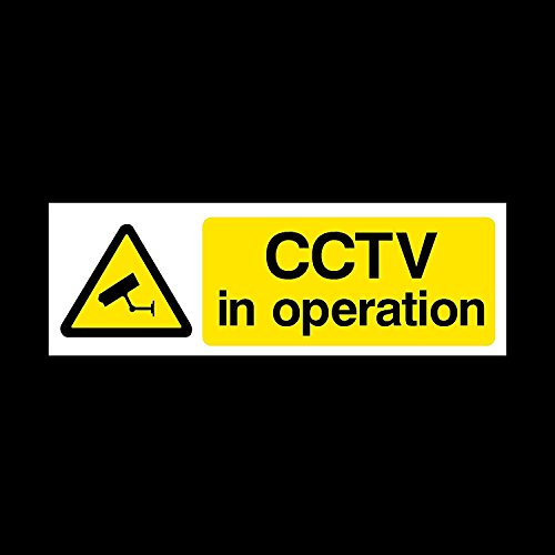 Harry Potter Kleiderschrank (CCTV In Operation Sign Aufkleber–Schwarz Weiß & Gelb CCTV Kamera Tür/Fenster Aufkleber Sicherheit Camara Zeichen durch GN Unternehmen, 15 x 5 CM)