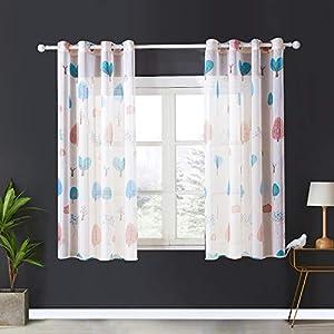Topfinel Voile Vorhänge mit Ösen Baum Mustern Kurze Gardine für Kinderzimmer Fenster Wohnzimmer 2er Set 175x140cm (HxB…