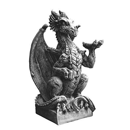 gartendekoparadies.de Riesiger Drache Alien Statue auf Sockel Steinfigur Torwächter aus Steinguss frostfest