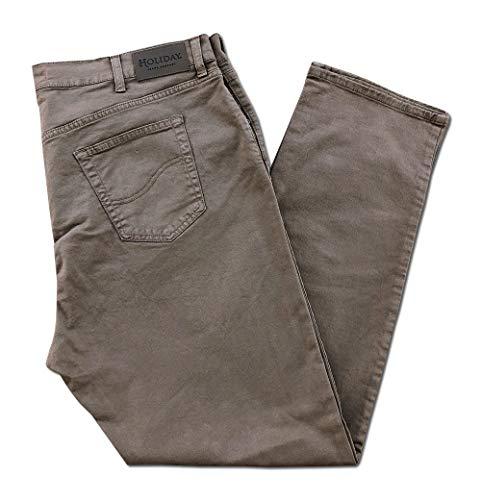 Holiday jeans pantalone taglie forti 62 64 66 68 over size vita alta made in italy uomo cotone elasticizzati comfort (pesante/invernale) (62, fango 269)
