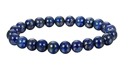 BE STEEL Schmuck 6Pcs Natur Stein Armbänder für Herren und Damen Armband Mala Elastisch 8mm Blauer Stein